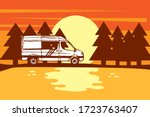 sun is setting behind the trees ... | Shutterstock .eps vector #1723763407