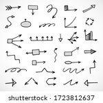 vector set of hand drawn arrows ... | Shutterstock .eps vector #1723812637