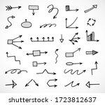 vector set of hand drawn arrows ... | Shutterstock .eps vector #1723812637