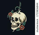 traditional skull tattoo vector ...   Shutterstock .eps vector #1723836844