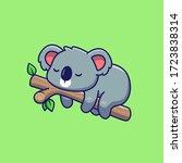 Cute Koala Sleeping Vector Ico...