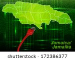 map of jamaica with borders in... | Shutterstock . vector #172386377
