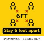 stay 6 feet apart keep your... | Shutterstock .eps vector #1723874074