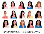 collection of female portraits. ... | Shutterstock .eps vector #1723916947