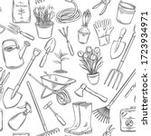 gardening tools and flowers... | Shutterstock .eps vector #1723934971