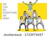 a group made a human tower... | Shutterstock .eps vector #1723973437