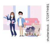 real estate agent woman with...   Shutterstock .eps vector #1723974481