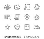 Thin lined icons related to e-commerce.