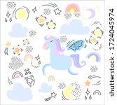 trendy cartoon birthday card... | Shutterstock .eps vector #1724045974