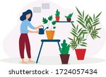 the girl takes care of indoor... | Shutterstock .eps vector #1724057434