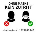 ohne mundschutz kein zutritt  ...   Shutterstock .eps vector #1724092447