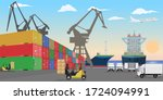 Stacked Freight Containers At A ...