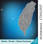 map of taiwan with borders in... | Shutterstock . vector #172412537