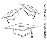 black line student caps. sketch ... | Shutterstock .eps vector #1724159797