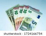 Heap Of Dollar And Euro Bills...