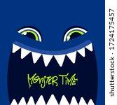 funny monster face t shirt... | Shutterstock .eps vector #1724175457