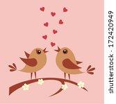 two cute birds in love | Shutterstock .eps vector #172420949
