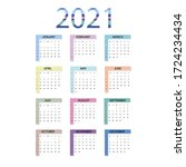 calendar 2021. simple minimal... | Shutterstock .eps vector #1724234434