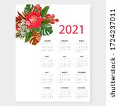 calendar 2021. simple minimal... | Shutterstock .eps vector #1724237011