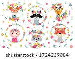 illustrations with flowers and...   Shutterstock .eps vector #1724239084