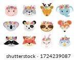 Animal Heads Illustrations Set. ...
