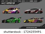 sport car wrap decal designs... | Shutterstock .eps vector #1724255491