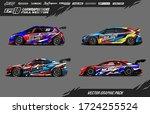 sport car wrap decal designs... | Shutterstock .eps vector #1724255524