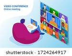 isometric video conference.... | Shutterstock .eps vector #1724264917