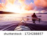 Adventurous Man Sea Kayaking I...
