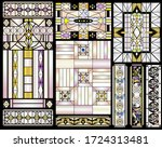stained glass art deco   floral ... | Shutterstock .eps vector #1724313481