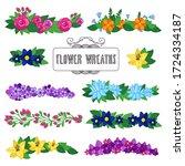 flower wreaths set. beautiful...   Shutterstock .eps vector #1724334187