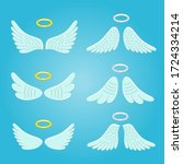 wings and nimbus. feather angel ... | Shutterstock .eps vector #1724334214