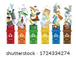 garbage container. waste... | Shutterstock .eps vector #1724334274