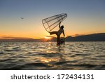 fishermen at inle lake  shan... | Shutterstock . vector #172434131