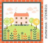home nature flower tree house... | Shutterstock .eps vector #172438211