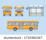 Set Of Yellow City Bus With...