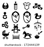 collection of cute baby icons | Shutterstock .eps vector #172444139