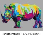 Colorful Rhinoceros On Popart...