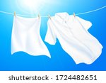 clean and white clothes hanging ... | Shutterstock .eps vector #1724482651
