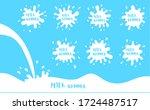 milk blot  cream drops and... | Shutterstock . vector #1724487517