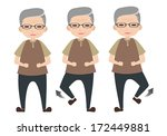 old man character lifting foot...   Shutterstock .eps vector #172449881