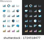 statistics icons light and dark ... | Shutterstock .eps vector #1724518477
