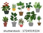 indoor plants and flowers in... | Shutterstock .eps vector #1724519224
