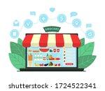 online grocery shopping concept....   Shutterstock .eps vector #1724522341