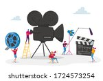 tiny characters making movie.... | Shutterstock .eps vector #1724573254