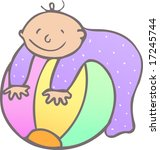 baby with a big ball at home | Shutterstock . vector #17245744