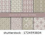 fabric print set. 8 seamless... | Shutterstock .eps vector #1724593834