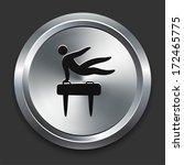 pommel icon on metallic button... | Shutterstock .eps vector #172465775