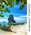boats on phra nang beach ... | Shutterstock . vector #172467221
