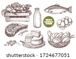 set of illustrations of farm... | Shutterstock .eps vector #1724677051